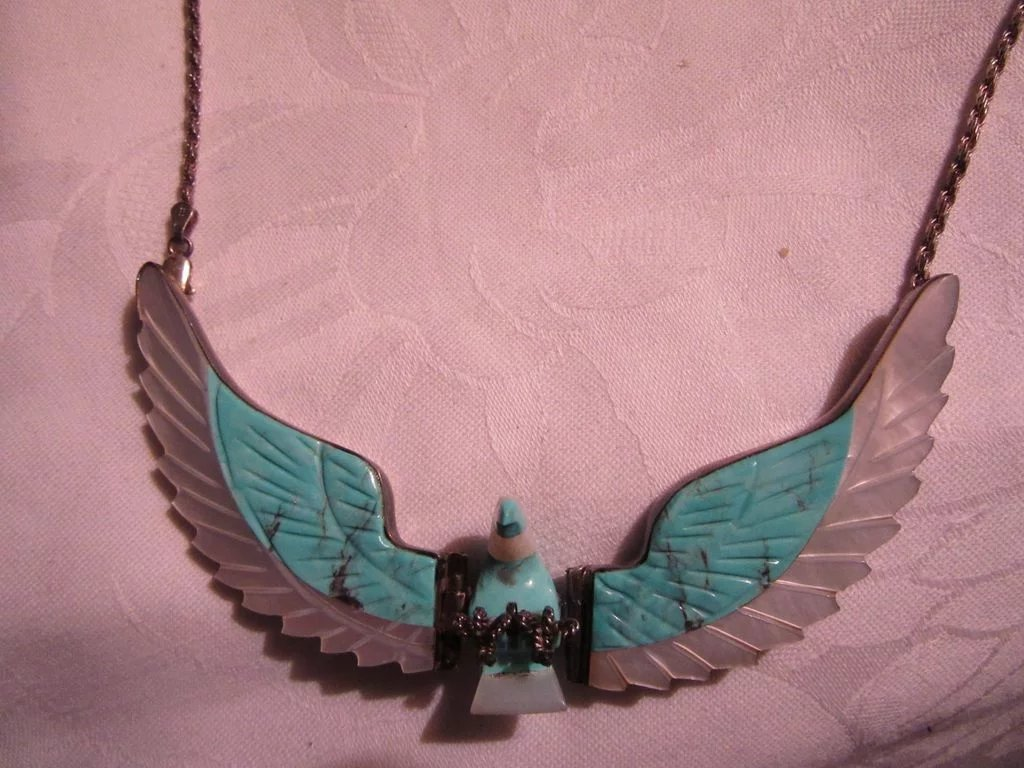 Native American Signed Spencer Sterling Silver Inlay Eagle