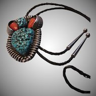 Native American Signed Jerry Roan Huge Pendant Bolo Silver Turquoise Coral