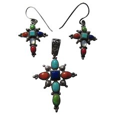 Native American Cross Pendant & Pierced Earring Set Multicolor Stones Sterling Silver