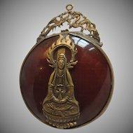 Carnelian Pendant With Buddha Bodisattva Quan Yin Metal Figure Pendant