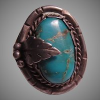 Native American SilverWith Large  Turquoise Ring Size 11