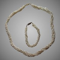 "Cultured Rice Pearls Braided 20""Necklace 7"" Bracelet Set Vintage Fine Jewelry"