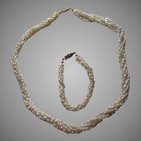 "Cultured Rice Pearls Braided 20""Necklace 7"" Bracelet Set Vintage Fine Jewelry"