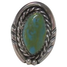 Native American Ring Silver Turquoise Size 6