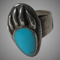 Native American Ring Fine Turquoise Sterling Silver Sz 12