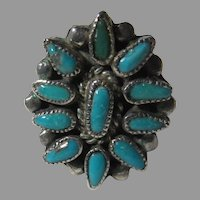 Native American Zuni Ring Fine Turquoise Sterling Silver Sz 8.5