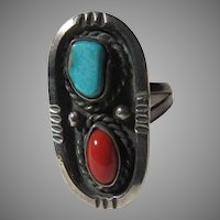 Native American Ring  Turquoise Coral Sterling Silver Sz 11