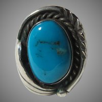 Native American Ring Fine Turquoise Sterling Silver Child or Pinkie  Sz 3.75