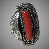 Native American Ring Silver  Coral Size 6
