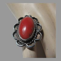 Native American Ring Silver Coral Size 6.5