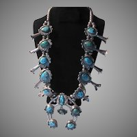 Old Native American Squash Blossom Necklace Turquoise And Silver