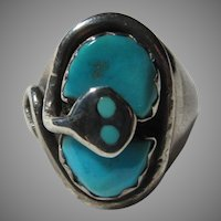 Native American Ring Effie Snake Turquoise Sterling Silver Sz 7.75