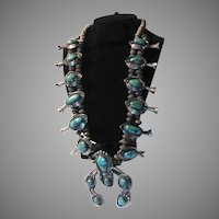 Large Native American Silver Turquoise Squash Blossom Necklace