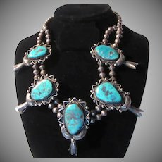 Native American Sterling Silver and Turquoise Blossom Necklace