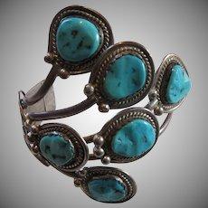 Fabulous Native American Sterling Turquoise Unusual Bracelet Fine Jewelry