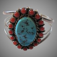 Signed Native American Turquoise Coral Silver Bracelet