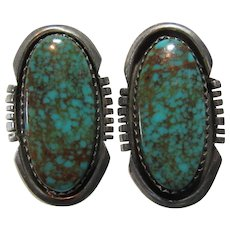 Native American Sterling Turquoise Clip Earrings