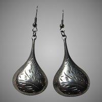 Sterling Silver Pierced Wires Earrings Long Droplets