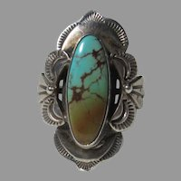 Native American Ring Fine Turquoise Sterling Silver Sz 9.5