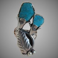 Signed Platera  Native American Unusual Silver Turquoise Ring Size 6