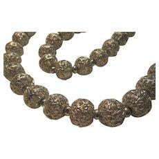 Monet Vintage Filigree Round Silver Tone Metal Beads Necklace