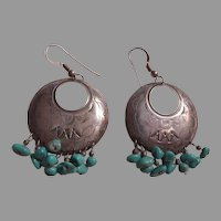 Native American Signed Pierced Earrings Sterling Silver Turquoise
