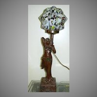 Antique Lamp Lady Czechoslovakia Art Glass Globe