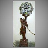 Antique Lamp Lady Czechoslovakia Art Glass Globe