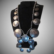 Native American Silver Coins Squash Blossom Necklace