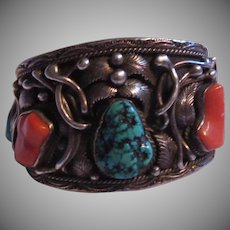 Signed Native American Massive Bracelet Silver Turquoise Coral