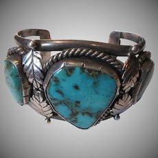 Large Vintage Native American Silver Turquoise Ornate Bracelet Signed