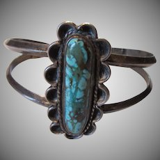 Native American Silver Turquoise Bracelet Signed