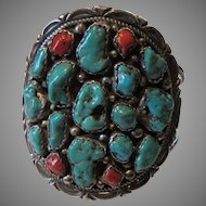 Massive Native American Turquoise Nuggets Coral Silver Bracelet Signed