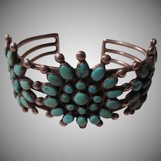 Triple Cluster Native American Turquoise Silver Bracelet