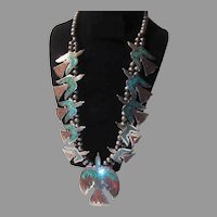 Native American Squash Blossom Necklace Peyote Birds Old Pawn