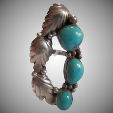 Native American Silver Turquoise Unusual Ring Size 7.5