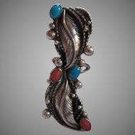 Native American Very Long Silver Turquoise Coral Ring Size 5.5