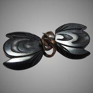 Old Black Carved Bakelite Fur Cape Fasteners
