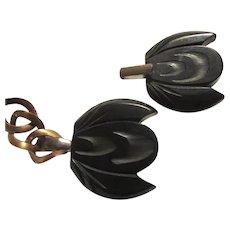 Black Bakelite Carved Cape Coat Clasp Sew On