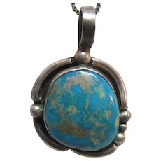 Native American Silver Turquoise Pendant With Chain