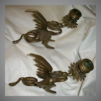 Bronze Winged Dragons Pair Candleholders Fine Metalwork Lighting