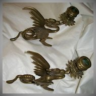 Heavy Brass Winged Dragons Pair Candleholders Fine Metalwork Lighting