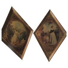 Pair Gold Gilt Italian Florentine Print Plaques