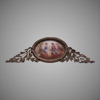 Hand Painted Miniature Porcelain Ornate Metal Frame