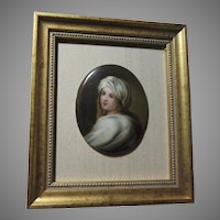 Miniature Painting on Porcelain Young Girl