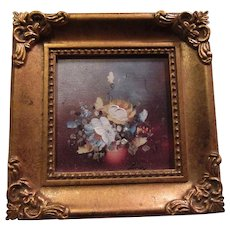 Miniature Painting On Canvas Flowers