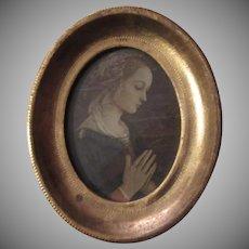 Italian Florentine Virgin Mary or Mary Magdalen Adoration Gold Gilt  Framed Print