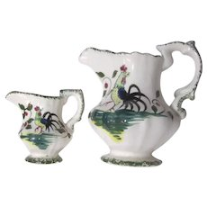 Small Pitchers Creamers Roosters Hand Painted Japan