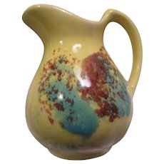 Yellow Splatter Pottery Creamer Old Cream Pitcher