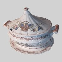 Soup Tureen With Underplate Platter Fruit Basket Design Old Japan